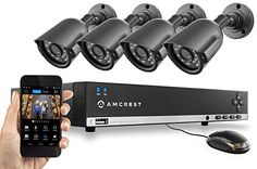 Amcrest 960H Video Security System - Four 800+ TVL Weatherproof Cameras, 65ft IR LED Night Vision, 960H DVR, Long Distance Transmit Range (984ft), 500GB HDD (Upgradable) for 6 Days of High Resolution Recording (30+ Days at Lower Resolution Settings), USB Backup Feature, and More Amcrest http://www.amazon.com/dp/B00PMEG8YQ/ref=cm_sw_r_pi_dp_iv3svb0N3WVDM