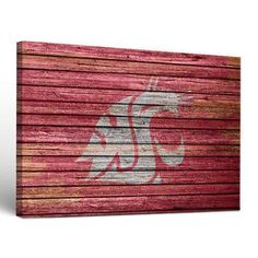 Victory Tailgate NCAA Washington State Cougars Weathered Design Framed Graphic Art on Wrapped Canvas Size: