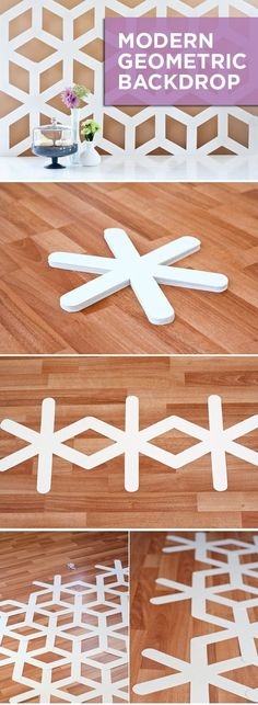 #DIY a bold geometric background to add a little mod to your space!