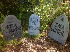 Halloween Tombstone Yard Art Decorations Set of 6