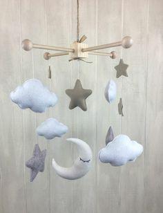 Mobile selber basteln   Wolken und Sterne aus Plüsch und Watte