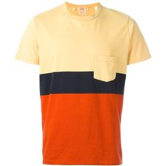 Levi's Vintage Clothing colour block pocket T-shirt ($96) ❤ liked on Polyvore featuring men's fashion, men's clothing, men's shirts, men's t-shirts, men's color block shirt, mens cotton shirts, mens pocket t shirts and mens cotton t shirts