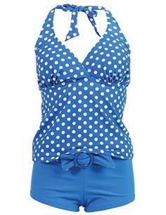 Marina West Women's Halter Tankini & Shorts Swimsuit Set (2 Piece),Small,Blue White Polka Dot Swimwear Marina West http://www.amazon.com Runs very small so size S will work for slimmer teens