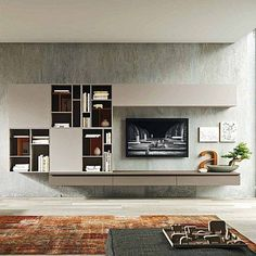 Evoke wall mounted bookcase and 4 wall mounted wooden units. - TV unit composition Evoke by Siluetto, features 4 wall mounted units and bookcase - Living Tv, Living Room Wall Units, Living Room Tv Unit Designs, Living Rooms, Contemporary Tv Units, Modern Tv Units, Tv Wall Design, House Design, Tv Wall Furniture