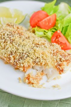 These baked fish fillets are coated with hoisin sauce and then topped with a mixture of breadcrumbs, wasabi, ginger and lime zest. Wasabi Recipes, Salmon Recipes, Fish Recipes, Lunch Recipes, Seafood Recipes, Gourmet Recipes, Great Recipes, Healthy Recipes, Cod Recipes