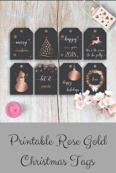 Beautiful and elegant printable rose gold Christmas tags! #christmas #printables #ad