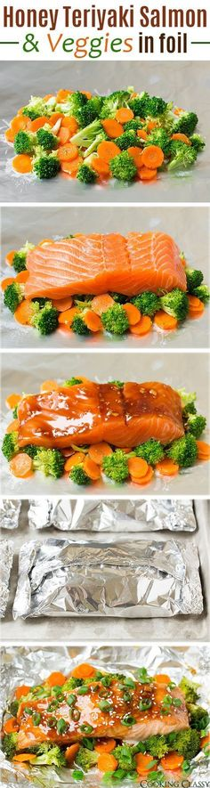 Honey Teriyaki Salmon and Veggies in Foil - an easy dinner the whole family will love! You've got to try this salmon, it's so delicious! dinner salmon Honey Teriyaki Salmon and Veggies in Foil - Cooking Classy Fish Dishes, Seafood Dishes, Fish And Seafood, Cooking Recipes, Healthy Recipes, Healthy Meals, Cooking Foil, Healthy Easy Food, Healthy Family Dinners