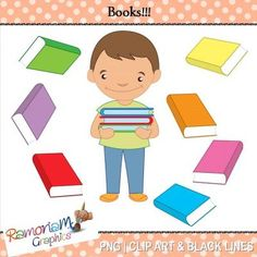 """FREE Books Clipart from RamonaM Graphics on TeachersNotebook.com -  (18 pages)  - Free """"Books"""" Clipart. 18 PNG images, each is 300dpi in Black & White, colored with colored outlines and colored with black outlines"""