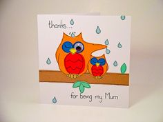Greeting Card  Handmade Two Owls thanks by SamfireGreetingCards, £2.00