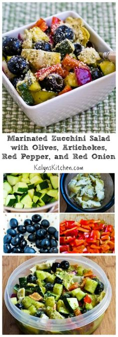 I've been making this Marinated Zucchini Salad, with Olives, Artichokes, Red Pepper and Red Onion for more than ten years, and it's still a favorite for summer parties or holiday gatherings. I like it best with some fresh-grated Parmesan, but if you skip the cheese this can be #Paleo, and it's  #LowCarb and #GlutenFree. [from KalynsKitchen.com]