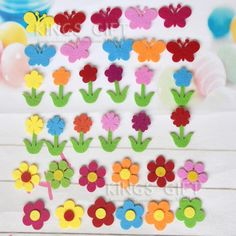 [Visit to Buy] 68PCS/Pack Felt Craft Flower, Non-woven Appliques, DIY Accessories Craft Felt Patches Scrapbooking Kindergarten Classroom Decor. #Advertisement