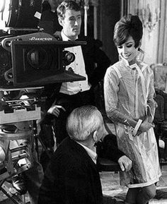 Audrey with Peter O'Toole and director William Wyler on the set of How to steal a million