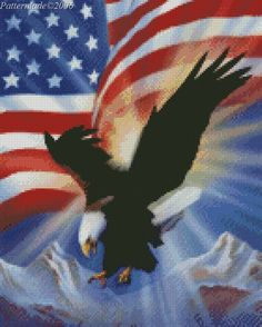Large American Flag with Bald Eagle Cross Stitch by Patternlade, $11.00