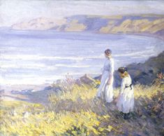 Helen McNicoll, On the Cliffs, 1913, oil on canvas, 50.9 x 61 cm, private collection. #ArtCanInstitute #CanadianArt