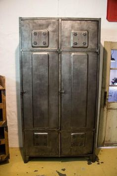 Vintage Two Door Steel Locker with Flower Vent for sale at Pamono