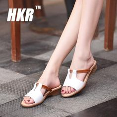 e309998a9 HKR 2017 summer women flat sandals Shoes Leisure slippers slip-on round toe comfortable  sandals