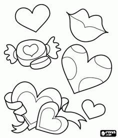 * Harten en kussen ... Op deze site kunnen kinderen ook online inkleuren!