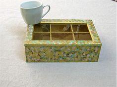 Boîte à thé en bois peinte et patinée art de la table art par Syell