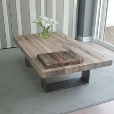 Wood Coffee Table with Solid Metal Legs