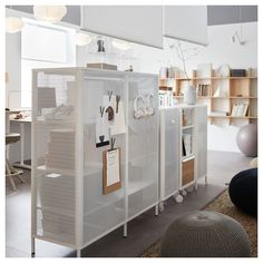 Balanced business office for work and play - IKEA Smart Storage, Locker Storage, Ikea Bekant, Large Storage Units, Pine Cabinets, Small Space Office, Office Spaces, Warehouse Office Space, Office Cubicles