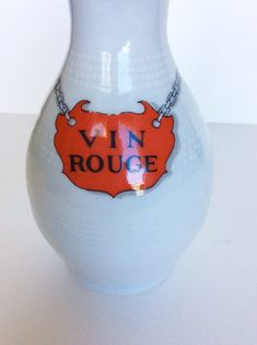 Vin rouge. Carafe. Pichet. Wine pitcher. Wine jug. Vintage wine pitcher. French wine pitcher. Red wine pitcher. Porcelaine de Paris. Wine. French Restaurants, French Wine, Vintage Wine, French Kitchen, Jar Storage, Carafe, Red Wine, Handmade Items, Pottery