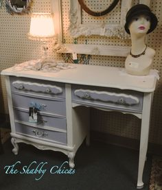 French Provincial styled desk done in Pairs Grey and Old White.
