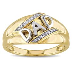 Miadora 10k Yellow Gold Diamond Accent Mens Dad Ring (Size 10.5), Men's, White