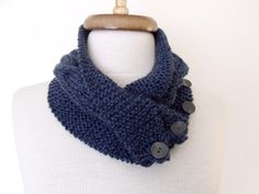 NEW Dark Blue Ivy Neckwarmer With Button And by knittingshop, $25.00