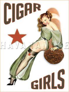 CIGAR GIRLS Vintage Pinup Poster Print