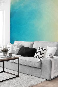 Ombre Sky - Adhesive Wallpaper - Removable Wallpaper - Wall Sticker - Wall Mural - Customizable Wallpaper - Watercolor by thinkimprint on Etsy https://www.etsy.com/listing/452574254/ombre-sky-adhesive-wallpaper-removable
