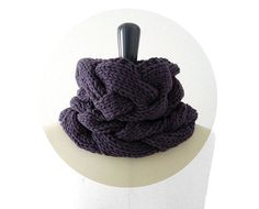 Loose Braids Cowl in Merino Blend Wool in Eggplant for Men and Women. Chunky Knit Infinity Loop. Spring / Fall / Winter. Handmade in France....