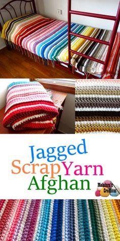 Scrap Yarn Crochet, Crochet Crafts, Knit Crochet, Double Crochet, Knitted Afghans, Afghan Crochet Patterns, Crochet Blankets, Pdf Patterns, Crochet Scarves