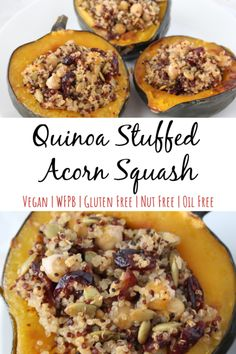 This quinoa stuffed acorn squash recipe is vegan, WFPB, and vegetarian friendly. It's a tasty, dairy free option for Thanksgiving or Christmas holiday meals. This clean eating, fall favorite is loaded with healthy protein from chickpea and is easy to mak Cranberry Recipes, Fall Recipes, Whole Food Recipes, Acorn Squash Recipes Healthy, Healthy Recipes, Cooking Recipes, Fall Vegetarian Recipes, Healthy Thanksgiving Recipes, Zucchini Zoodles