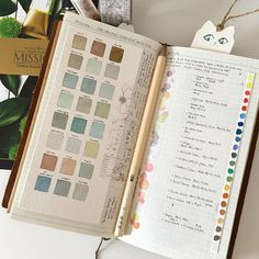Treated myself to some new paints- I was happy to recreate the soft and gentle palette I favour from the bright and saturated colours on the right hand page... #travelersnotebook #travelersnote #midoritravelersnotebook #stationery #japan #artjournal #planner #planneraddict #plannerlove #journal #journaling #watercolor #watercolour #missiongold #colour #colourswatch #colourchart #washi #washitape #maskingtape #chamilgarden