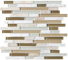 Bliss Bamboo Random Strip Glass and Stone Mosaic Tiles - contemporary - tile - by Rocky Point Tile Stone Mosaic Tile, Mosaic Glass, Glass Tiles, Contemporary Kitchen Tiles, Bamboo Bathroom, Floor Design, Kitchen Backsplash, Home Improvement, Rocky Point
