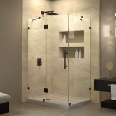 "Dreamline SHEN-1334460 QuatraLux 34-5/16"" X 46-5/16"" Frameless Hinged Shower Enc"