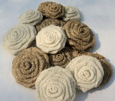 Rustic Wedding Natural and Ivory Burlap Flowers by theruffleddaisy