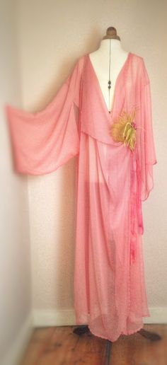 Joanne Fleming Design; silk crepe-chiffon kimono boudoir/dressing robe in 'tea rose'. Also available in white, Ivory, and blush