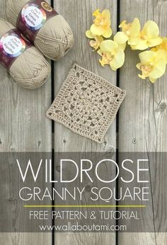 Wildrose Granny Square - All About Ami Learn how to crochet this beautiful and . Wildrose Granny Square – All About Ami Learn how to crochet this beautiful and modern granny squ Granny Square Pattern Free, Granny Square Tutorial, Granny Square Projects, Granny Square Häkelanleitung, Granny Square Crochet Pattern, Crochet Squares, Easy Crochet Patterns, Crochet Motif, Crochet Designs