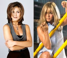 """Jennifer Aniston as Rachel in """"Friends"""" and in """"We're the Millers"""" in 2013"""