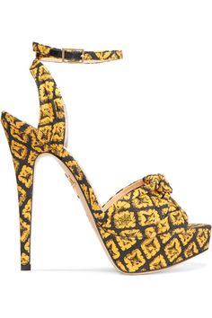 Heel measures approximately 140mm/ 5.5 inches with a 30mm/ 1 inch platform Yellow and black canvas Buckle-fastening ankle strap Made in Italy