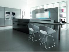 Futuristic Kitchen Design from Italy by Toncelli DigsDigs black white and gray kitchen design, gray brown kitchen design, gray kitchen cabinets design, gray kitchen designs, john gray kitchen design, white gray kitchen design #Kitchen