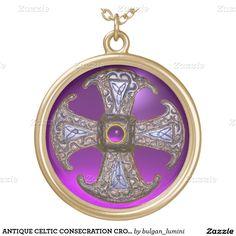 ANTIQUE CELTIC CONSECRATION CROSS Purple Gemstones Round Pendant Necklace