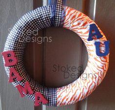 """Idea for a """"House Divided"""" wreath for football season"""