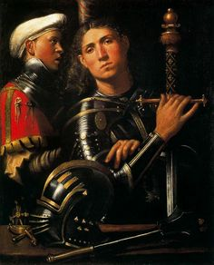 Giorgione, born Giorgio Barbarelli da Castelfranco; (Italian c. 1477–1510) [High   Renaissance] Warrior with Groom, 1505-1510.