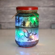 Get this exclusive Stranger Things Candle Holder! Perfect for Halloween Decor! It includes a multicolor led string that works with two batteries (included). dimensions: Since the item is handmade, it could be slightly different fro Stranger Things Alphabet, Stranger Things Netflix, Stranger Things Season, Stranger Things Items, Pot Mason, Mason Jar Lamp, Halloween Candles, Halloween Gifts, Shadow Box