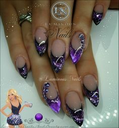Luminous Opal Glittery Purple Nails....