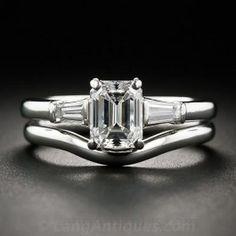 Tiffany & Co. 1.07 Carat Emerald Cut Diamond Wedding Set