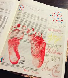 The right footprint isn't perfect, but that's ok because it will always remind me of the wiggly, busy baby girl I get to watch grow- all too quickly.❤️ Inspired by a post from @luckowfam  #biblejournaling #illustratedfaith #heARTinthemargins