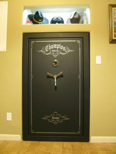 From Closet to Built-In Gun Safe - I want/need/must have this! The guest bedroom is going to lose a closet :) Weapon Storage, Gun Storage, Basement Storage, Storage Room, Storage Ideas, Gun Safe Room, Reloading Room, Gun Vault, Wall Safe